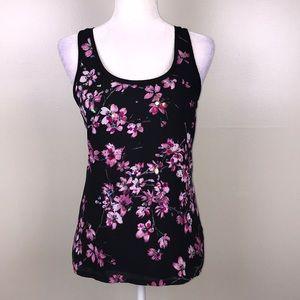 EXPRESS Black Floral Tank Top Multi Fabric Bling